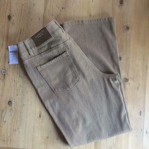 🌷Coldwater Creek P12 tan Knit Denim Straight Leg